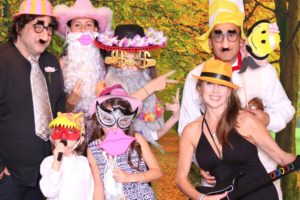 A Picture of a wedding party in a photo booth rental